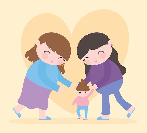 Gravidanza e maternità, donne carine con cartone animato bambina