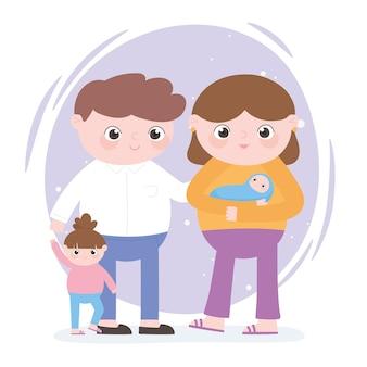 Gravidanza e maternità, famiglia papà mamma bambino e piccola figlia del fumetto