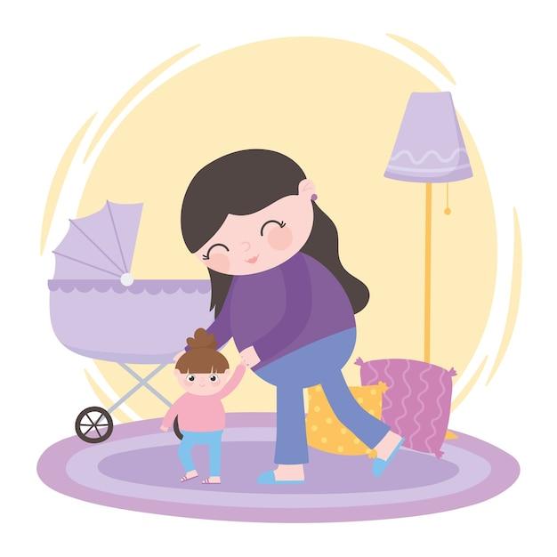 Gravidanza e maternità, mamma che cammina con la sua piccola figlia e la carrozzina
