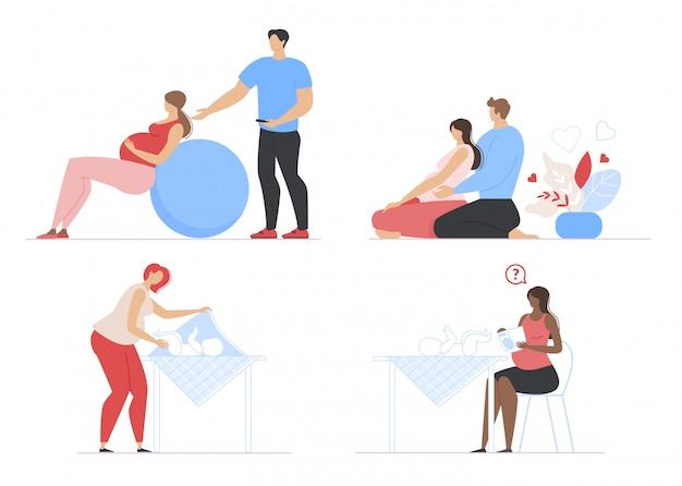 Set piatto scene di gravidanza, maternità e genitorialità
