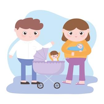 Gravidanza e maternità, genitori con bambino e bambino nella carrozzina
