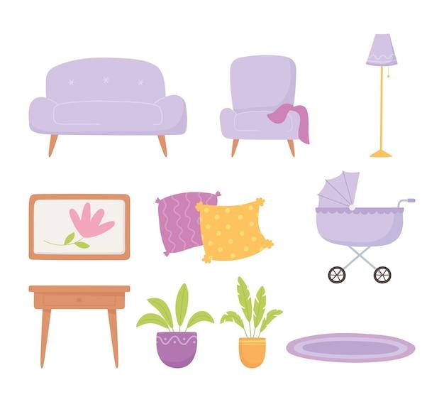 Gravidanza e maternità, impostare icone divano sedia carrozzina piante da tavolo e lampada