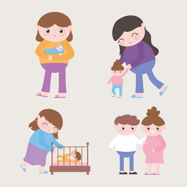 Gravidanza e maternità, varie mamme con bambino e fumetto incinta