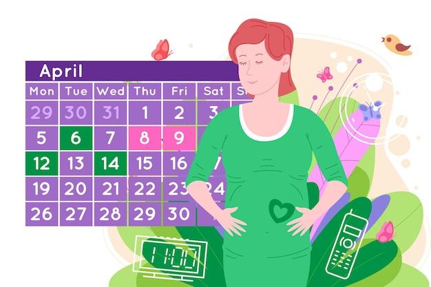 Appuntamento medico in gravidanza. la bella giovane donna felice incinta prende un appuntamento con un medico usando un calendario. piatto del fumetto di una donna in attesa della nascita di un bambino.