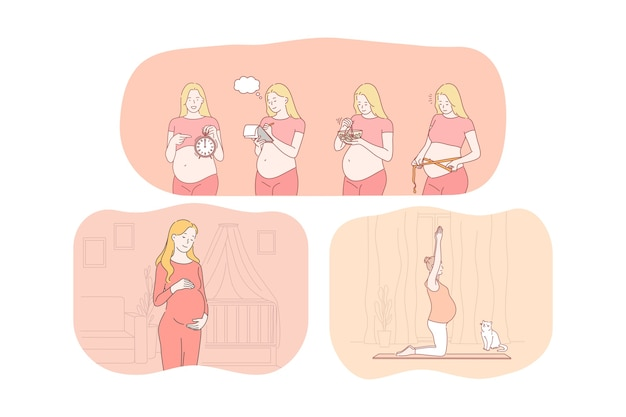 Gravidanza, maternità, attesa per il parto e il concetto di bambino. fumetto di giovani donne incinte felici