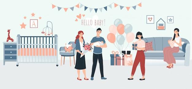 Nascita del neonato di maternità e di gravidanza con i genitori che tengono famiglia neonata e giovane nell'illustrazione della stanza dei bambini.