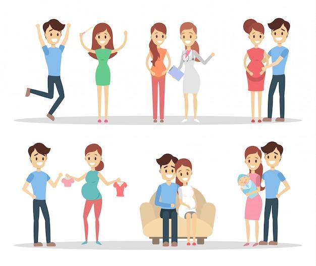 Set di persone in gravidanza. coppie felici che si preparano per un bambino.