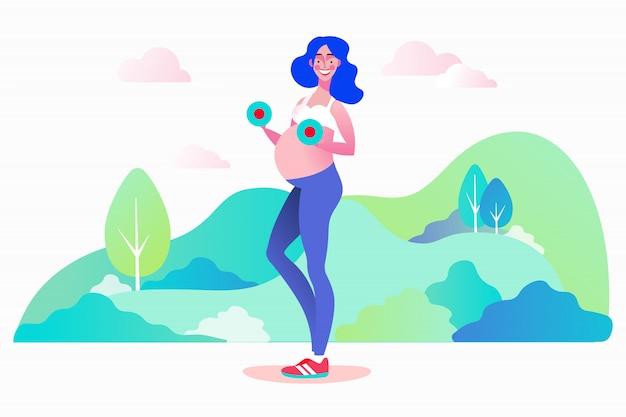 Concetto di allenamento con manubri di forza prenatale in gravidanza