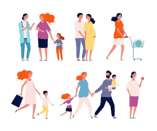 Personaggi in gravidanza. donna felice madre coppia bambino sano medico di famiglia consulenza gravidanza genitori raccolta immagini vettoriali. illustrazione madre incinta, gravidanza sana