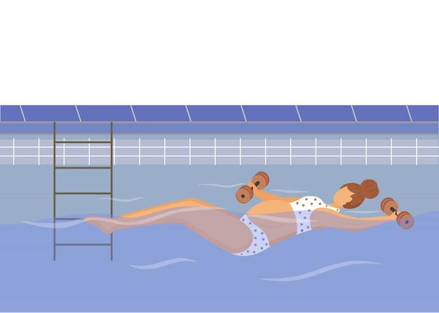 Ragazza incinta che nuota nell'illustrazione della classe di idoneità dell'acqua. salute durante la gravidanza. giovane donna che si esercita in acqua con il personaggio dei cartoni animati di pesi su priorità bassa bianca
