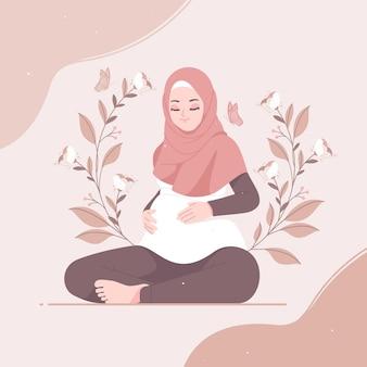 Carattere di ragazza hijab incinta