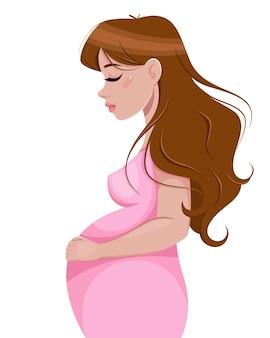 Personaggio dei cartoni animati della donna incinta isolato su bianco