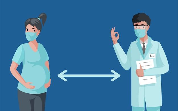 Donna incinta e medico in maschere facciali mantenendo la distanza