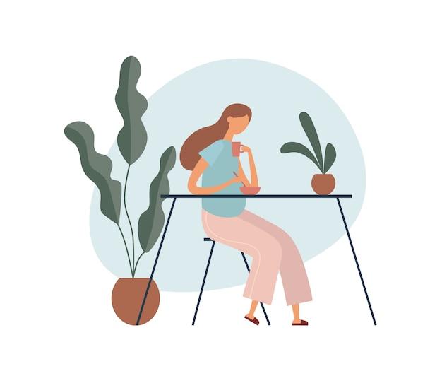 Donna incinta che mangia prima colazione sana. illustrazione