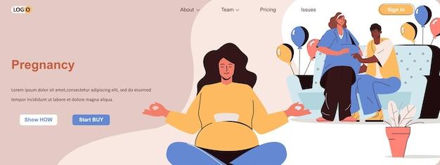 Donna incinta web concept gravidanza e aspetta un bambino giovane famiglia e genitori