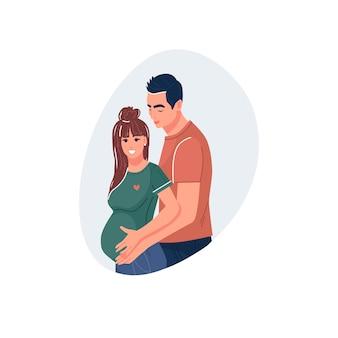 Donna incinta con una grande pancia e suo marito che abbraccia felice gravidanza futuri genitori