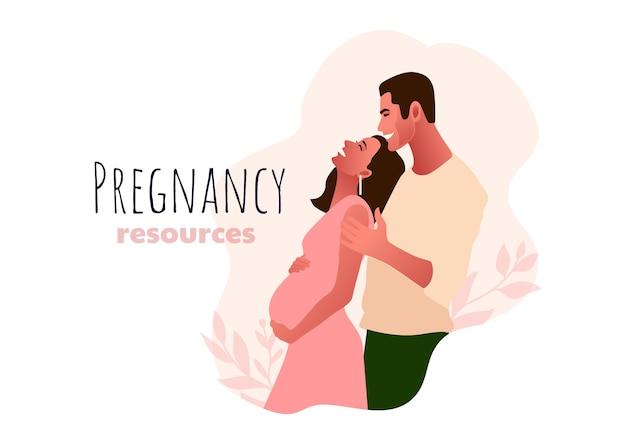 Donna incinta con il suo partner. tipo di risorse di gravidanza, giovane bella coppia illustrazione. giovani genitori.