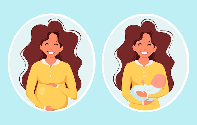 Donna incinta donna con maternità in gravidanza neonato