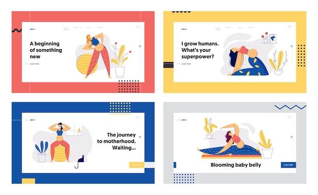 Donna incinta in posizione yoga landing page set. giovane madre esercizi