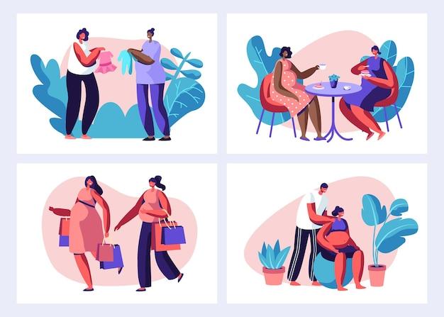Set per il tempo libero per donne incinte. cartoon illustrazione piatta