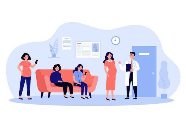 Donne incinte in attesa in coda all'ufficio del medico