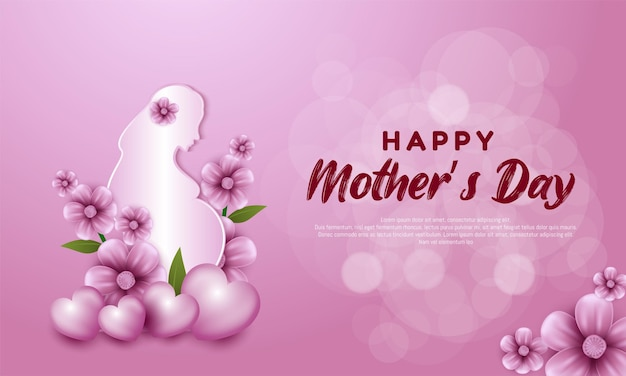 Donne incinte con fiori per la festa della mamma felice