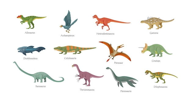 Animali preistorici impostati. antichi uccelli, pesci, dinosauri, anfibi con iscrizione di nomi