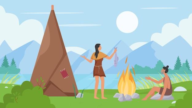 Persone preistoriche cucinano cibo cavernicolo primitivo seduto accanto a una donna di fuoco che cucina pesce
