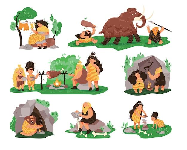 Vita della gente primitiva dell'età della pietra preistorica Vettore Premium