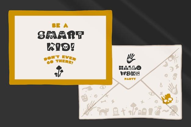 Biglietto e busta preconfezionati per il design della tua festa di halloween
