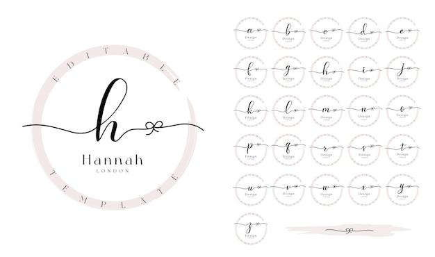 Premade logo design set con lettere dell'alfabeto calligrafia e cerchio grunge
