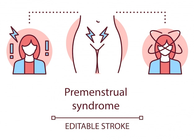 Icona di concetto di sindrome premestruale. illustrazione al tratto sottile idea ciclo mestruale.