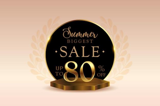 Sconto banner di vendita estiva 3d premium con ottanta 80 percento