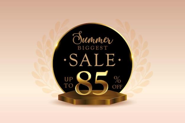 Sconto banner di vendita estiva 3d premium con ottantacinque 85 percento