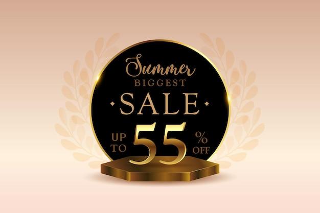 Sconto banner di vendita estiva 3d premium con cinquantacinque 55 percento
