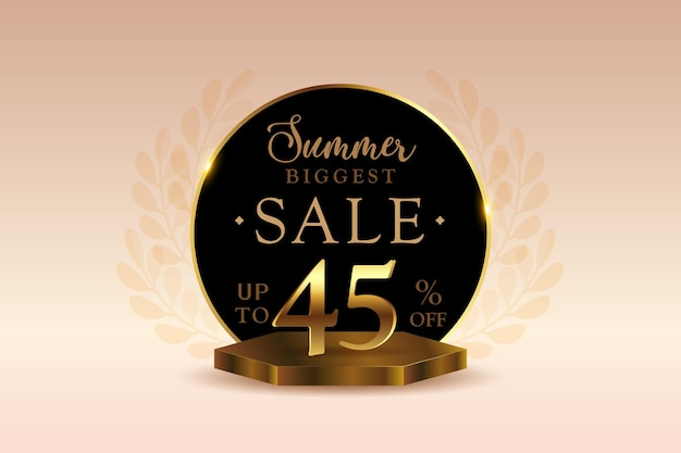 Sconto banner di vendita estiva 3d premium con quarantacinque 45 percento