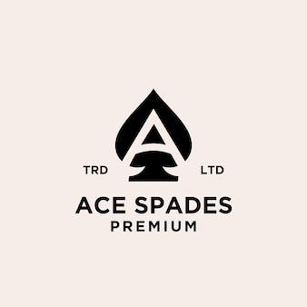 Asso di picche premium con lettera iniziale e design del logo
