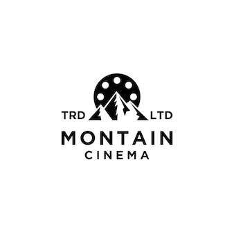 Premium avventura montagna film vettoriale logo nero icona design