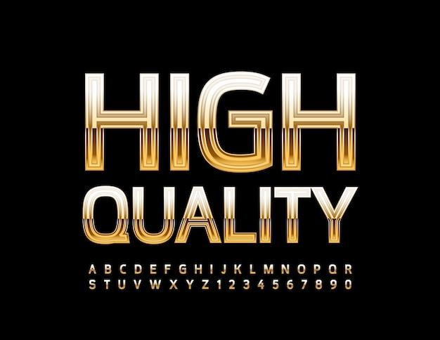 Distintivo premium lettere e numeri dell'alfabeto in oro di lusso con caratteri elite lucidi di alta qualità