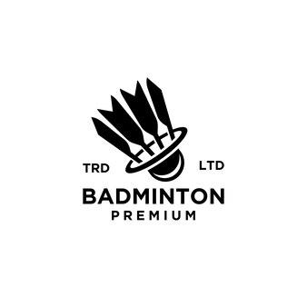 Premium badminton volano logo design illustrazione