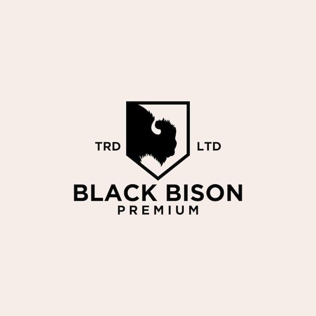 Premium nero testa di bisonte scudo vettore logo icona design isolato sfondo bianco