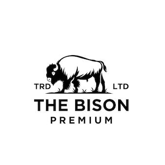 Disegno dell'icona di logo di vettore di bisonte nero premium isolato sfondo bianco