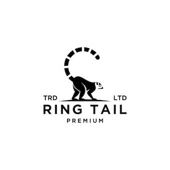 Lemuri neri premium anello coda vettore logo design isolato sfondo bianco
