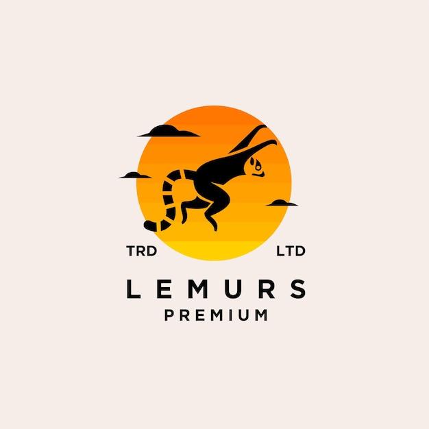 Coda di anello di lemuri neri premium con design del logo vettoriale tramonto isolato sfondo bianco