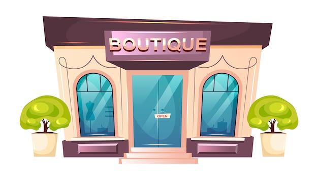 Illustrazione del fumetto anteriore boutique premium. oggetto moderno di colore piatto shopfront. ingresso negozio di moda di lusso. vetrina alla moda dello showroom. esterno dello stabile adibito a uffici isolato su fondo bianco