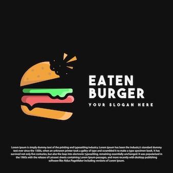 Design premium del logo dell'hamburger mangiato il design del logo dell'hamburger per il tuo marchio o la tua attività