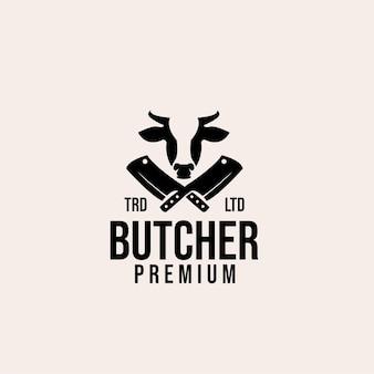 Design del logo vettoriale di mucca da macellaio premium