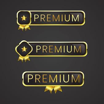 Pulsante premium set web nero lucido oro per abbonamento utente al piano