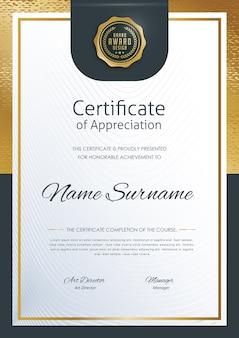 Modello di diploma certificato premium