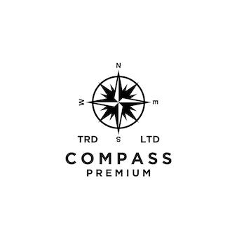 Disegno dell'icona logo nero bussola vettoriale premium